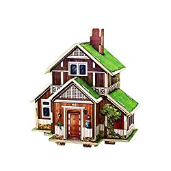 Creative Assemble Puzzle Toys Child Early Education Wooden 3D Puzzle House Norway Houses