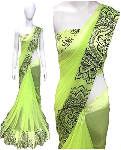 pujia mills Saree With Blouse Piece (3005 Sattan Green_Green_Free Size)
