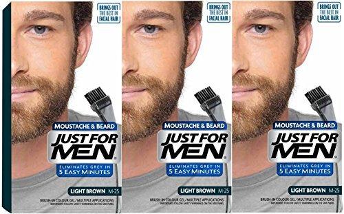 3x solo per uomo baffi barba e Facial Gel per capelli colore M25(marrone chiaro)