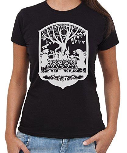 T-Shirt ALICE NEL PAESE DELLE MERAVIGLIE Tea Party Cinema by New Indastria - Donna-S-NERA