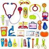 Finer Shop 30 Piezas Juego de Imaginación Set Médico con el Estetoscopio y el Juguete Educativo del Equipo Médico