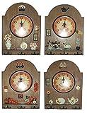 Kotak Sales KS-WallClockD4 Positive Feeling Big Wooden Wall Clock Quartz with Key Holder Stand 3 Hooks (White)