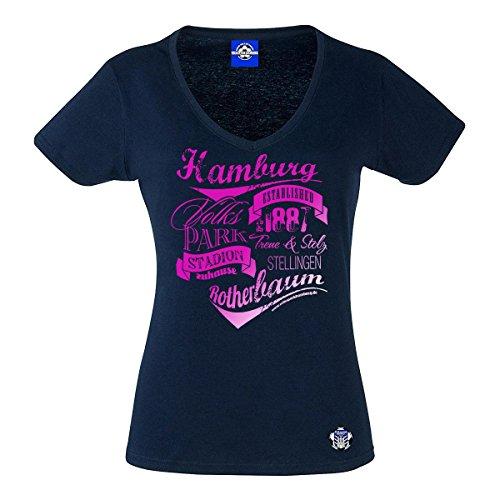 Volkspark Hamburg Streetwear Damen T-Shirt Vintage Typo Metallic Pink Druck (Navy, s)