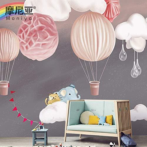 Nordic Ins Wind Heißluftballon Tapete weiße Wolken Tapete Junge Mädchen Schlafzimmer warm nahtlose Wandtuch benutzerdefinierte Wandbild @ Seamless Korean importiert feinen Stoff (Importiert Jungen)
