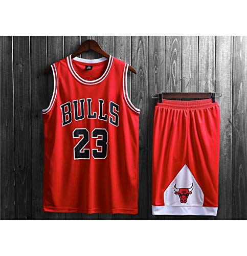 HS-ATI NICE Basketball Trikots, Michael Jordan-Chicago Bulls 23# atmungsaktiv Vintage Jugend Kurzarm Tops Shirts, Herren Basketball Westen Uniform,M:155cm~160cm