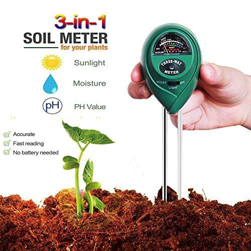 3-in-1 Bodentester, Boden Feuchtigkeit Meter, Digital pH Meter Messgerät, Boden Feuchtigkeitsmesser and Lichtstärke Meter Tester für Gartenbau, Pflanzen Wachstum, Rasenpflege (keine Batterie erforderlich)