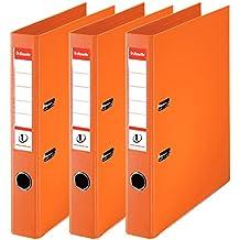 Esselte Clasificador - Archivador de anillas con palanca (50 mm, paquete de 3), color naranja