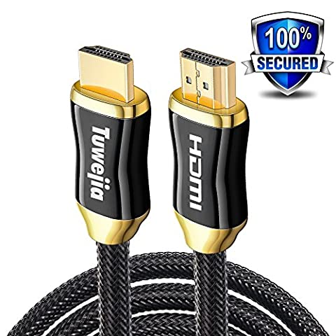 HDMI Tuwejia Cable CL3-Ultra High Speed HDMI 6Feet/1.8Meter 2.0(4K)Ready-18Gbps-28AWG nylon Braided Gold Plated Connectors-Ethernet,Audio Return-Video 2160pHD1080p3D-Xbox PlayStation PS3PS4 PC Apple TVetc (6Ft/1.8m)