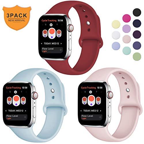 Hamile Armband Kompatibel für Apple Watch 38mm 40mm, Weiche Silikon Wasserdicht Ersatz Uhrenarmbänder für Apple Watch Series 5/4/3/2/1, S/M Rot/Rosa/Türkis