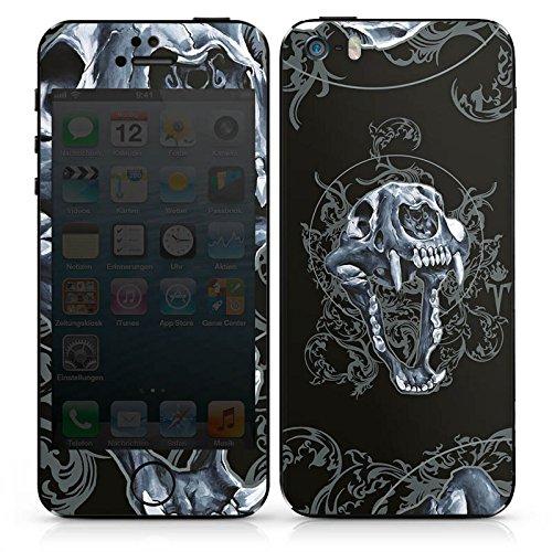 Apple iPhone SE Case Skin Sticker aus Vinyl-Folie Aufkleber Puma Totenkopf Pumakopf DesignSkins® glänzend