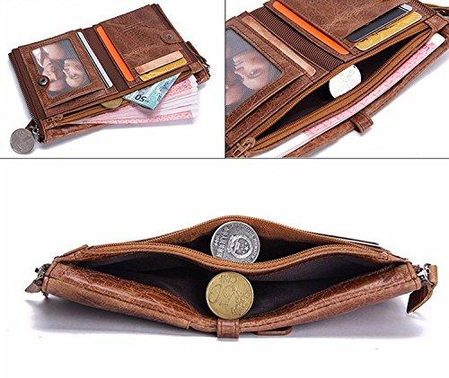 e384493c4a Portafoglio uomo vera pelle di vacchetta con carta di credito titolare  Bifold Portamonete a doppia tasca con zip borsa regalo inscatolato  (marrone) - hd001