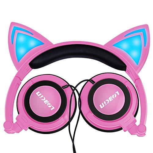 Chat oreille casque, LOBKIN pliable Wired sur Kids écouteur avec lumière éclatante pour les Fans de Cosplay filles enfants, Compatible pour iPhone, téléphone Android (rose)