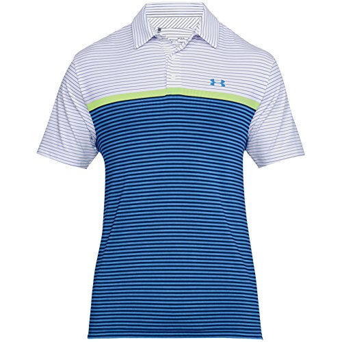 Under Armour Herren Golf Playoff Polo, Herren, White/Mediterranean (Freiheit-golf-shirt)