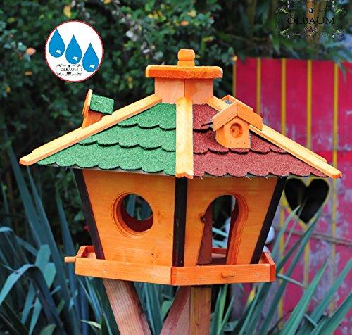 Vogelhaus Massivholz,wetterfest, mit Ständer / mit Standfuß und Silo,Futtersilo für Winterfütterung -Holz Nistkästen & Vogelhäuser- aus Holz mit Dach ROT GRÜN BR60r-gEM - 2