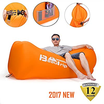 BEAUTRIP 100% Nylon Single Inlet Inflatable Air Lounger Sleeping Bag with Backpack, Pockets, Securing Stake & Bottle Opener - Hammock Ideal for Indoor & Outdoor Camping, Picnics & Musical Festivals - inexpensive UK light store.