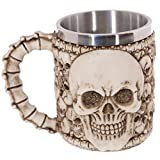 Justdolife Taza De Café Taza De Té De Consumición De La Taza De Té De La Taza del Té del Acero Inoxidable del Cráneo De Halloween