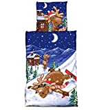 JEMID Bettwäsche Winter Microfaser Thermofleece 135cm x 200cm Bettwäsche Garnitur Bettbezug Bettgarnitur Bettbezüge Bettenset Thermo Elch 2