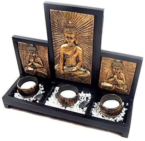 Buddha Teelichthalter 3er Set gold ZEN