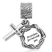 ReisJewelry Religion Christian Keep Faith Cross Charm Holy Bible Charms Beads for Bracelets