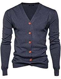 943d2fa06f46d8 Elonglin Men s Cardigan Boy Basic Knitted Sweater Jumper V-neck Knit Sweater  Button Color Plain Jacket Cardigan…