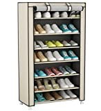 UDEAR Meuble à Chaussures Pliant avec Tissu, 8 Couches Armoire à Chaussures étagère à Chaussures Beige