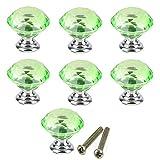 PETITES ECREVISSES Lot de 10 Poignées Bouton en Verre Cristal Diamant pour Placard Tiroir Porte,30mm(Lot de 10) (Vert)