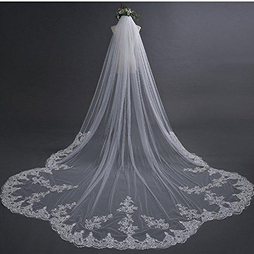 Gyman moda veli da sposa squisita cattedrale lunga pizzo bordo floreale veli da sposa accessori da sposa capelli con pettine libero, 5*3
