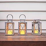 Set di 3 Lanterne in Metallo Zincato per Interni ed Esterni con Candela LED a Pile di Lights4fun