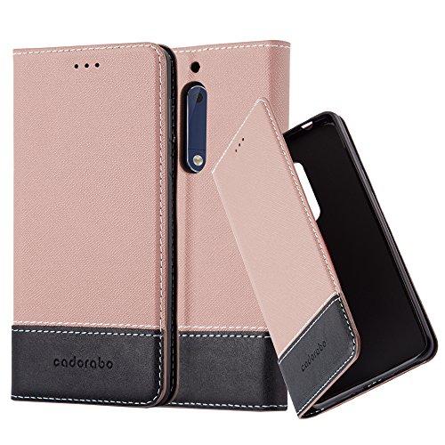 Cadorabo Hülle für Nokia 5 2017 - Hülle in ROSÉ Gold SCHWARZ – Handyhülle mit Standfunktion und Kartenfach aus Einer Kunstlederkombi - Case Cover Schutzhülle Etui Tasche Book