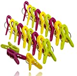Bag Clips Set of 24 Food Bag Sealer Clips Quality Reusable Colourful Sealing Clips Multi Purpose Plastic Pegs for Kitchen Storage, Office Stationary, Clothes, DIY, Kids.