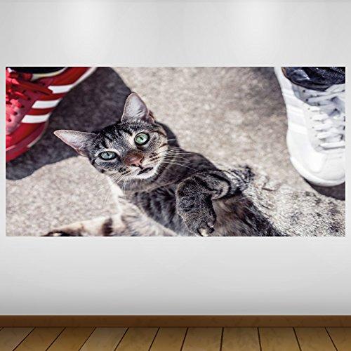 LagunaProject EXTRA GROßE Braune Katze grüne Augen Wildlife Vinyl Sticker Poster Wandsticker Wandtattoo Wandbild Wanddeko -140cm x 70cm