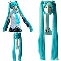 mujeres Hatsune Miku Cielo Azul Super Long Doble Ponytails y Super Long-Length Cosplay Peluca Cabello