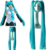 mujeres Hatsune Miku Cielo Azul Super Long Doble Ponytails y Super Long-Length Cosplay Peluca Cabello