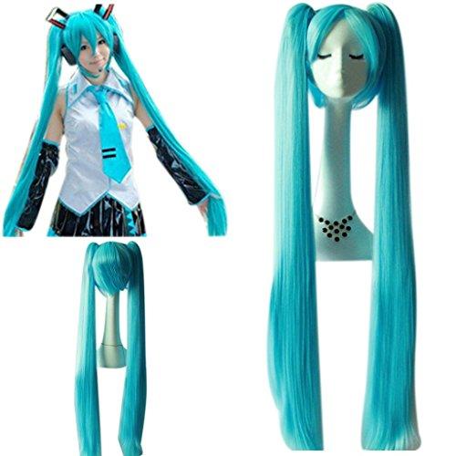 Kinder Hatsune Kostüm Miku - Hatsune Miku Sky Blau Super Lang doppelte Pferdeschwänzen Super long-length Cosplay Perücke Haar