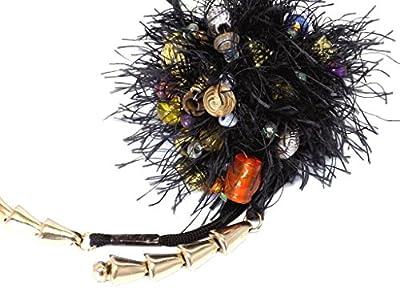 Bijoux de sac Pompon Noir métallisé clochettes perles multicolore