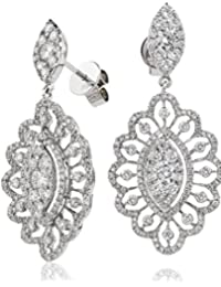 3.15CTS Certified G/VS2 Brilliant Diamond Cut Drop Pattrened Set Earrings in 18k White Gold