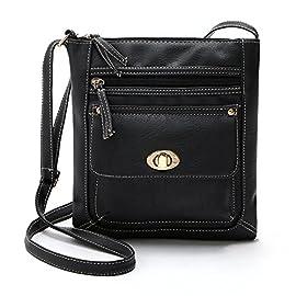 Bluester Vintage Womens Leather Satchel Cross Body Shoulder Messenger Bag