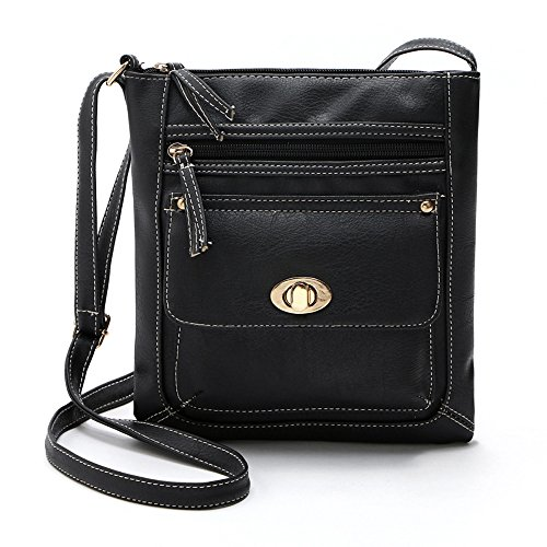 - 51cJMFZqR0L - Bluester Vintage Womens Leather Satchel Cross Body Shoulder Messenger Bag (Black)