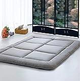 Dormitorio colchón tatami mat almohadilla cama pliegue-capaz anti-recogia 3.0cm de espesor [individuales] [doble] para las tiendas del dormitorio del estudiante del salón-Gris 120x198cm(47x78inch)