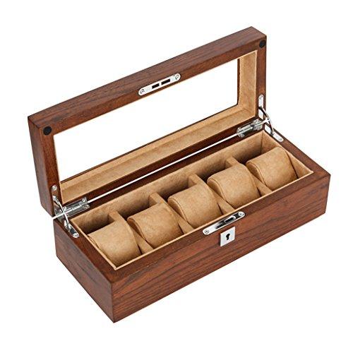 5 Gürtel Holz Uhr Aufbewahrungsbox Glas Schiebedach Uhren Vitrine mit Schloss Kissen Handgelenk Mechanische Uhr Display Boxen für Armbanduhren Schmuck Armband Sammlungen, Braun, 30X12X10CM (Glas-rand Beendet)