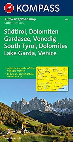 Südtirol, Dolomiten, Gardasee, Venedig: Autokarte 1:250000 (KOMPASS-Autokarten, Band 259)