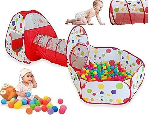 Tente Pop Up Tunnel des enfants Maison de Jouet et Piscine -3piècesIndoor / Outdoor , BOULES NON INCLU (rouge-1)