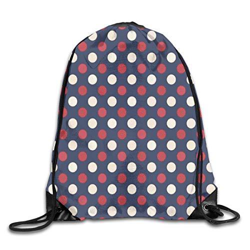 HLKPE Drawstring Backpacks Bags Daypacks,Retro Large Circles with Inner Stripes Round Spots Kids Nursery,5 Liter Capacity Adjustable for Sport Gym Traveling