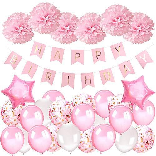 AivaToba Geburtstagsdeko Mädchen Happy Birthday Girlande Ballons Geburtstag Dekoration Set mit Luftballons Rosa, Seidenpapier Pompoms Rosa für Deko Geburtstag Taufe Mädchen