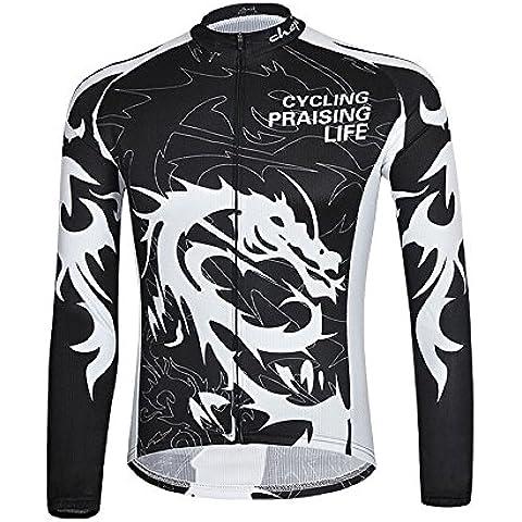 hebike Dragon Knight bici da uomo manica lunga Jersey Set + 3d Imbottito Lungo Abbigliamento traspirante ad asciugatura rapida, donna, Jersey, XXXL