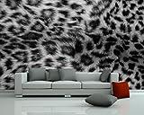 selbstklebende Fototapete - Leopardenfell - schwarz weiss - 420x270 cm - Wandtapete – Poster – Dekoration – Wandbild – Wandposter - Bild – Wandbilder - Wanddeko