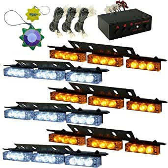 HQRP Stroboscopes jaunes et blanches lightbars LED 6 panneaux gyrophares 54 LED 12v DC + HQRP mètre du soleil