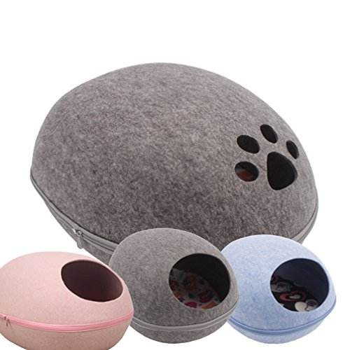 LA VIE Warm Hundehöhle Gemütlich Plüsch Hochwertiger Korb Hundehütte Bequemer Zwinger für Hunde Katzen Welpen kleine Rassen Grau