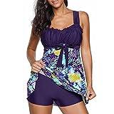 MRULIC Badeanzug 2 Stück Damen Tankini Swim Kleid Beachwear Gefärbt Charmant Bademode Plus Size Bikisuit(W-Violett,EU-48/CN-4XL)
