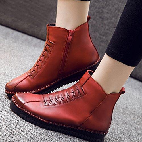 MatchLife Damen Vintage Leder Plissée Stiefel Kurze Boots Style2-Rot
